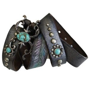 Accessories - Painted Feather Leather Belt